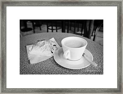 Cafe Au Lait And Pain Au Chocolate In A Cafe Bar In France Framed Print by Joe Fox