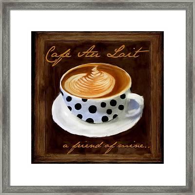 Cafe Au Lait Framed Print by Lourry Legarde