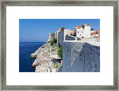 Cafe Below The City Wall At Old Town Framed Print