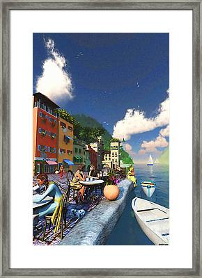Cafe By The Sea Framed Print