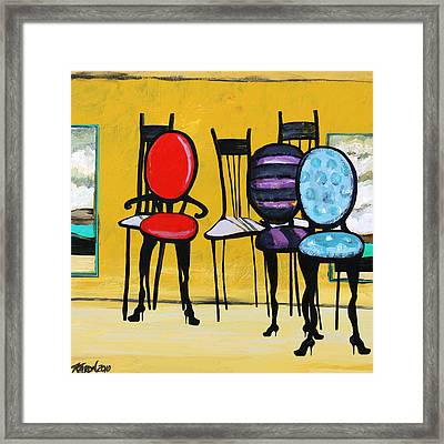 Cafe Chairs Framed Print by Karon Melillo DeVega