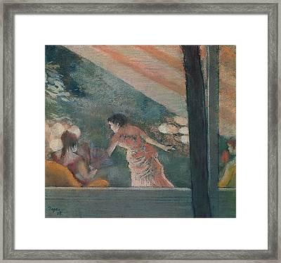 Cafe Concert At The Ambassadeurs Framed Print by Edgar Degas
