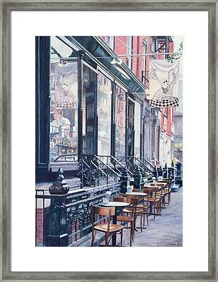 Cafe Della Pace East 7th Street New York City Framed Print by Anthony Butera