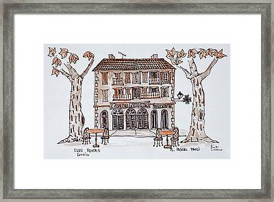 Cafe Des Platens In Place Paoli, L'ile Framed Print