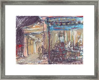 Cafe Du Monde At Night Framed Print by Edward Ching