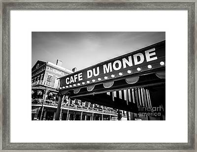 Cafe Du Monde Black And White Picture Framed Print