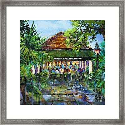 Framed Print featuring the painting Cafe Du Monde Morning by Dianne Parks