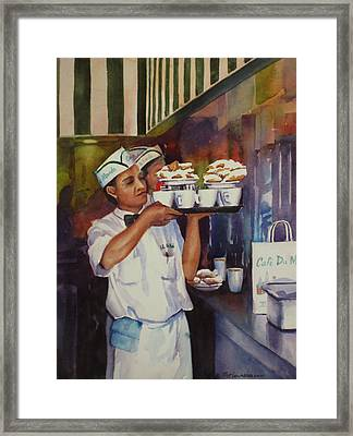 Cafe Du Monde Framed Print by Sue Zimmermann