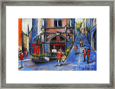 Cafe Du Soleil - Place De La Trinite - Lyon France Framed Print by Mona Edulesco