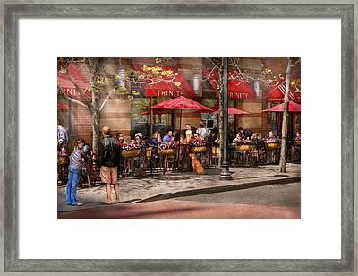 Cafe - Hoboken Nj - Cafe Trinity  Framed Print by Mike Savad