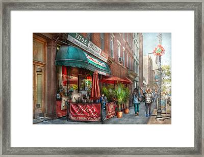 Cafe - Hoboken Nj - Vito's Italian Deli  Framed Print by Mike Savad