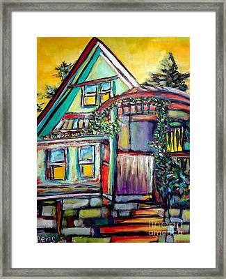 Cafe In Revelsoke Bc Canada Framed Print by Aeris Osborne