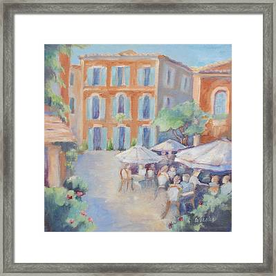 Cafe In Roussillon Framed Print by Linda  Wissler