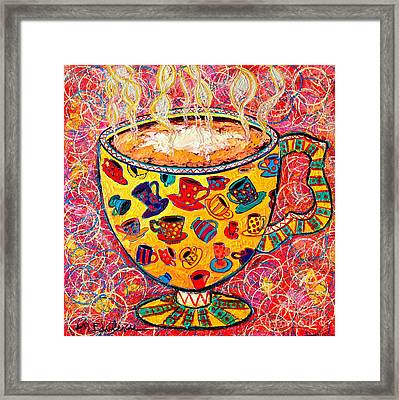 Cafe Latte - Coffee Cup With Colorful Coffee Cups Some Pink And Bubbles  Framed Print by Ana Maria Edulescu