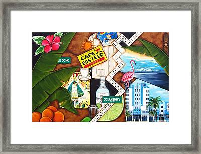 Framed Print featuring the painting Cafe Miami by Joseph Sonday