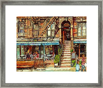 Cafe Mogador Moroccan Mediterranean Cuisine New York Paintings East Village Storefronts Street Scene Framed Print