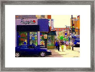 Cafe Noir Mont Royal Espresso Bar Salads Panini Pizza 24 Hrs Montreal Bus Scenes Art Carole Spandau Framed Print by Carole Spandau