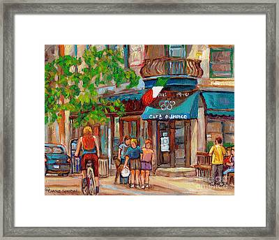 Cafe Olimpico-124 Rue St. Viateur-montreal Paintings-sports Bar-restaurant-montreal City Scenes Framed Print by Carole Spandau