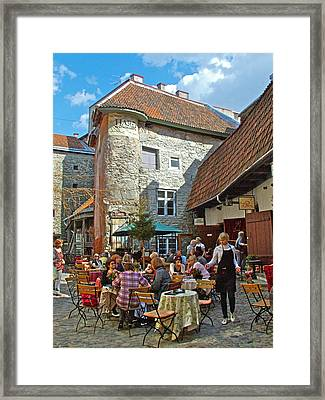 Cafe On A Side Street In Old Town Tallinn-estonia Framed Print by Ruth Hager