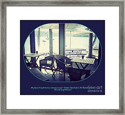Framed Print featuring the photograph Cafe On The River by Leanne Seymour