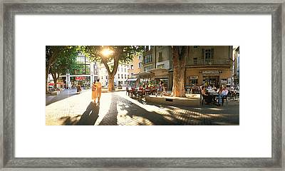 Cafe, Orange, Provence France Framed Print by Panoramic Images