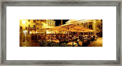 Cafe, Pantheon, Rome Italy Framed Print by Panoramic Images