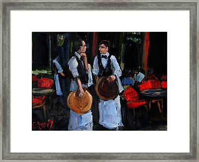 Cafe Philosophers Framed Print by Carole Foret