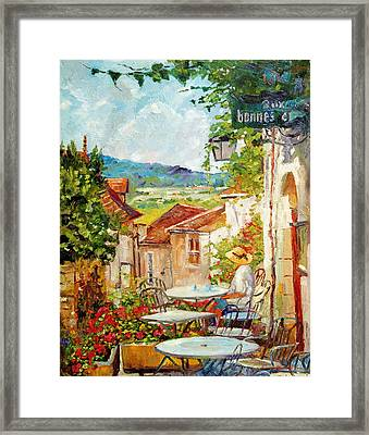 Cafe Provence Morning Framed Print by David Lloyd Glover