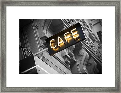 Cafe Sign Framed Print by Chevy Fleet