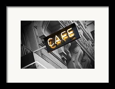 Night Cafe Scene Framed Prints