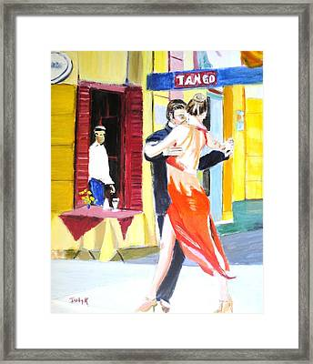 Cafe Tango Framed Print by Judy Kay