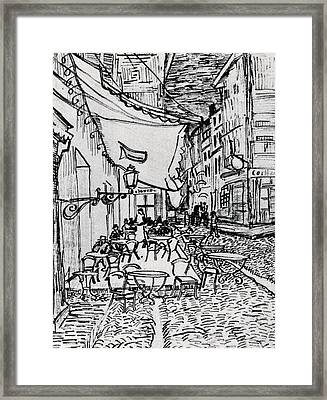 Cafe Terrace At Night - Drawing Framed Print