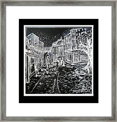 Cafe Terrace In Black And White Framed Print by Diana Sclafani