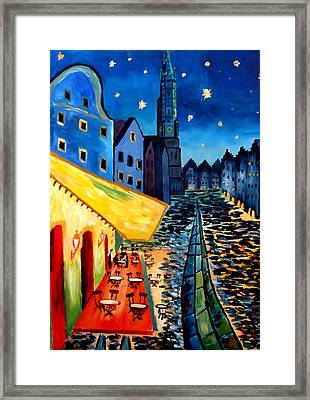 Cafe Terrace In Landshut - Inspired By Van Gogh Framed Print by M Bleichner