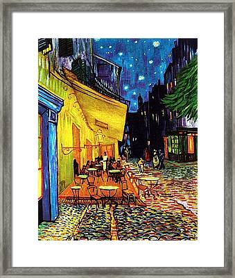Framed Print featuring the painting Cafe Terrace Place Du Forum At Night  by Vincent Van Gogh