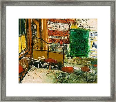 Cafe Terrace With Posters Framed Print