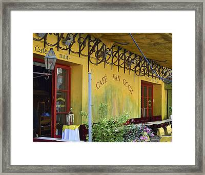Framed Print featuring the photograph Cafe Van Gogh by Allen Sheffield