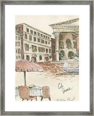 Cafe Verona Framed Print by Alan Paul