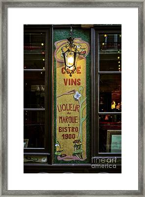 Cafe Vins At Night Framed Print by Mary Machare