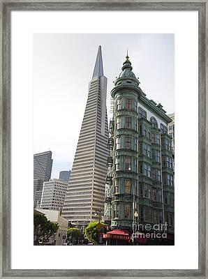 Cafe Zoetrope And Transamerica Bldg Framed Print by David Bearden