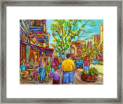Cafes In Springtime Framed Print by Carole Spandau