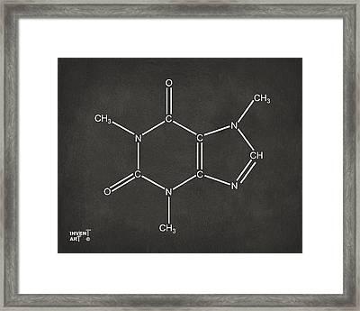 Caffeine Molecular Structure Gray Framed Print by Nikki Marie Smith