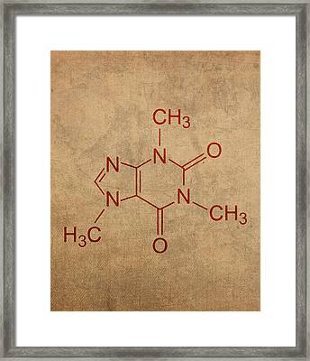 Caffeine Molecule Coffee Fanatic Humor Art Poster Framed Print by Design Turnpike