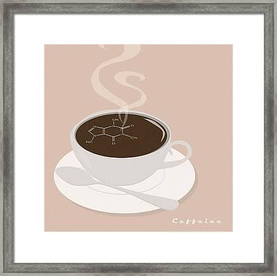 Caffeine Molecule Framed Print by Kate Paulos