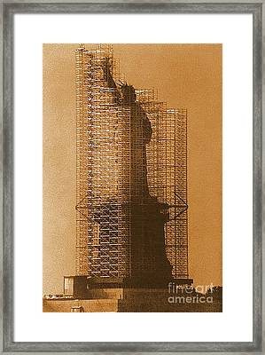 New York Lady Liberty Statue Of Liberty Caged Freedom Framed Print