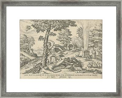 Cain And Abel, Attributed To Symon Novelanus Framed Print