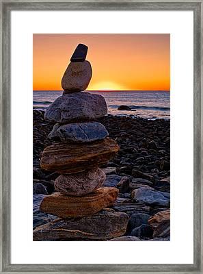 Cairn At Sunrise Rye Harbor Nh Framed Print