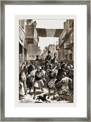 Cairo, Egypt, 1876 Clearing The Way For Ladies Framed Print by Litz Collection