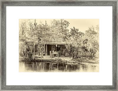 Cajun Cabin - Sepia Framed Print by Steve Harrington