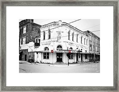 Cajun Corner Cafe Framed Print by Scott Pellegrin